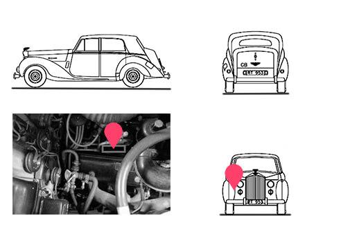 Ubicacion bastidor Bentley LB22