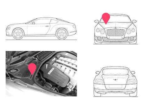 Ubicacion bastidor Bentley Continental GT