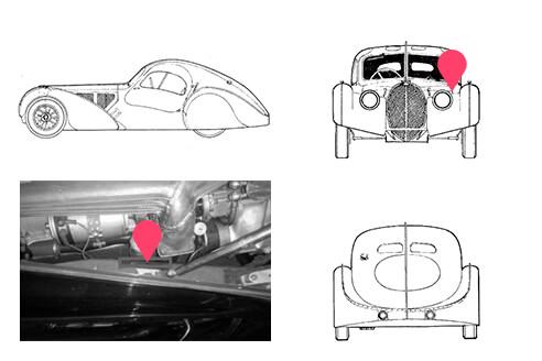 Ubicacion bastidor bugatti type 57