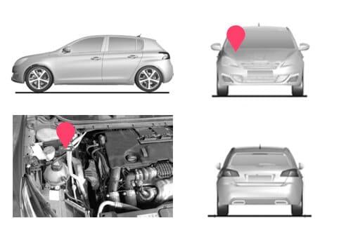 Ubicacion bastidor Peugeot 308 segunda generacion