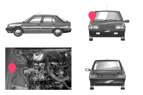 Ubicacion bastidor Peugeot 309