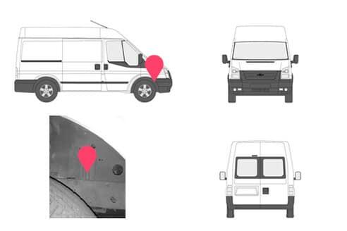 Ubicacion bastidor ford transit quinta generacion